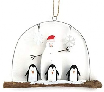 Shoeless Joe Penguins and a Snowman on a Driftwood Hanger Christmas Decoration