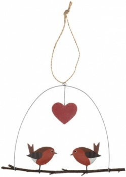 Shoeless Joe Robins In Love Christmas Decoration Hanger