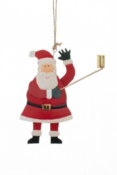 Shoeless Joe Santa with a Selfie Stick Christmas Decoration