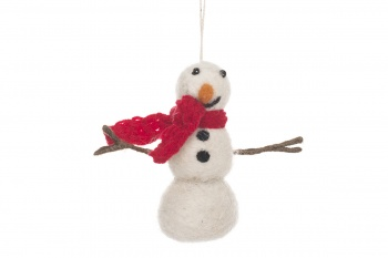 Felt So Good Fair-trade Snowman Hanging Christmas Decoration