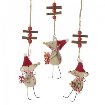Heaven Sends Mix of 3 Wooden Hanging Christmas Mice