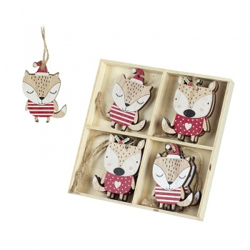 Heaven Sends Set of 8 Hanging Wooden Fox Christmas Decorations