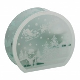 Snowman and Santa Scene Glass Tea Light Holder