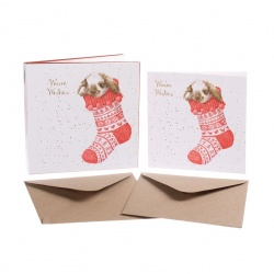 Wrendale Designs Christmas Stocking Christmas Card Set