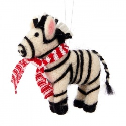 Sass and Belle Wool Christmas Zebra with Scarf Decoration