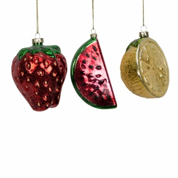Widdop Gifts Set of 3 Glass Fruit Christmas Baubles