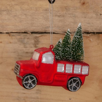 Widdop Gifts Red Truck with Christmas Tree Hanging Decoration