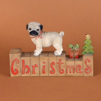 Christmas Home Pug Decoration With Glitter Detail