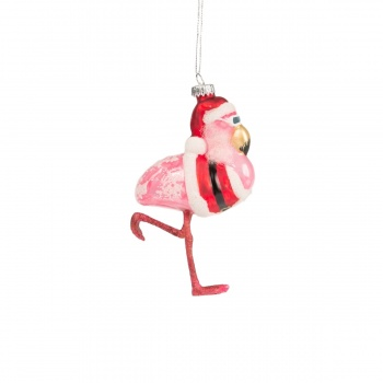Sass and Belle Glass Flamingo Christmas Tree Decoration