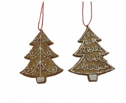 Set of 2 Gisela Graham Gingerbread Style Christmas Decorations