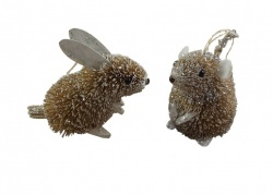 Set of 2 Gisela Graham Bristly Rabbit and Mouse Tree Decorations