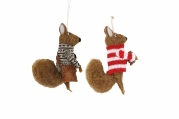 Gisela Graham Felt Squirrel Christmas  Tree Decorations