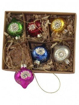 Gisela Graham Set of 6 Vintage Glass Christmas Tree Baubles