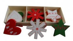 Gisela Graham Christmas Decoration - Scandi Chunky Wood Assortment