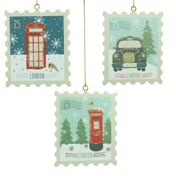 Gisela Graham Set of 3 London Stamp Christmas Decorations