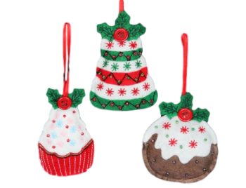 Gisela Graham Set of Christmas Cake Tree Decorations