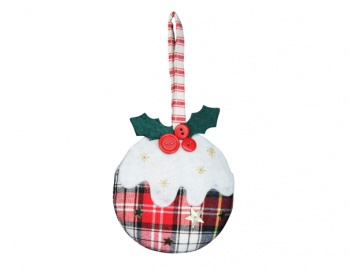 Gisela Graham Tartan Fabric Christmas Pudding Tree Decoration