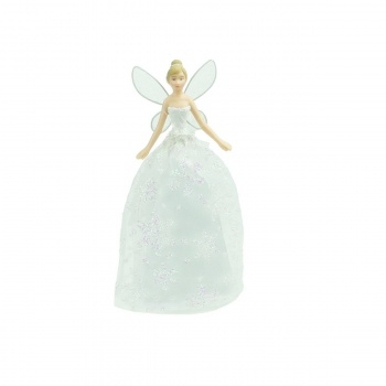 Gisela Graham White Glitter Christmas Fairy Tree Topper