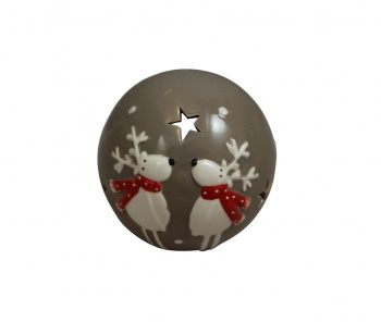 Grey Ceramic Reindeer Christmas Decorative Tealight Holder
