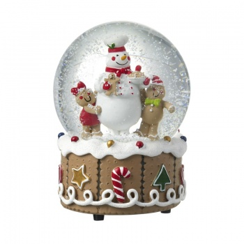Heaven Sends Gingerbread Design Musical Snowglobe