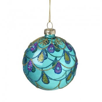 Heaven Sends Decorative Peacock Glass Christmas Tree Bauble