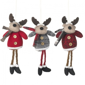 Heaven Sends Trio Of Moose Christmas Tree Decorations