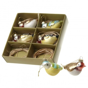 Heaven Sends Assorted Birds Glass Christmas Decorations