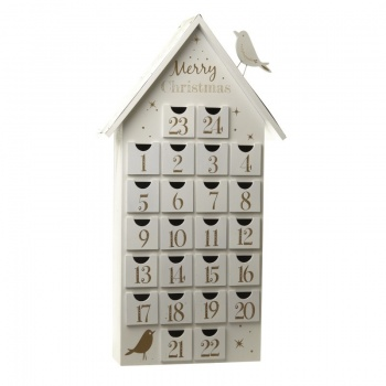 Heaven Sends Large White Advent House  Calendar With Bird Feature