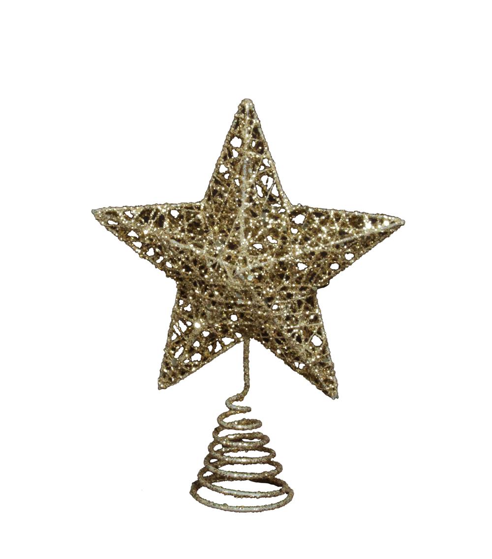 Gisela Graham Sparkling Gold Star Christmas Tree Topper ...