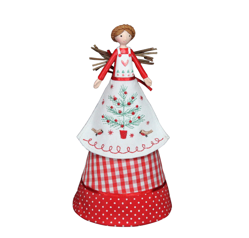 Gisela Graham Christmas Tree Topper: Gisela Graham Red Nordic Christmas Fairy Topper