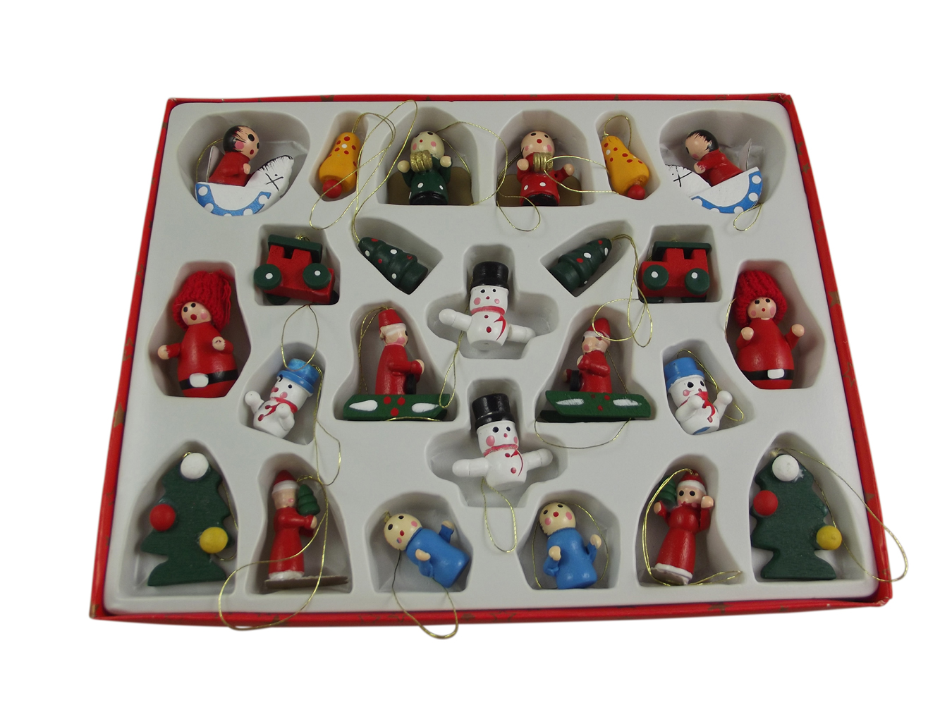 Set Of 24 Gisela Graham Wooden Christmas Tree Decorations