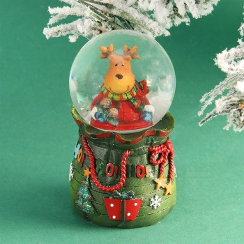 Reindeer In A Gift Bag Snowglobe Decoration