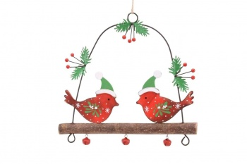 Robins On A Branch Festive Hanging Decoration