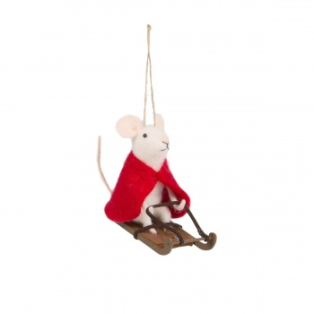 Sass and Belle Felt Sledging Mouse Christmas Tree Decoration
