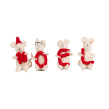 Sass and Belle Set Of 4 Felt Mice Christmas Decorations
