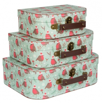 Sass And Belle Christmas Robin Suitcases