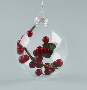 Sass and Belle Clear Bauble With Cranberry Twig Feature