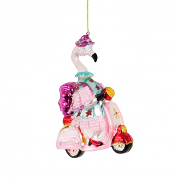 Sass And Belle Scooter Granny Flamingo Christmas Decoration