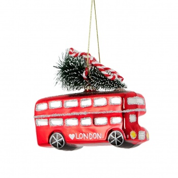 Sass And Belle Christmas in London Bus Hanging Decoration