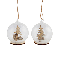 Sass and Belle Set of 2 Baubles With Woodland Feature