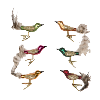 Sass and Belle Set of 6 Clip On Glass Bird Decorations