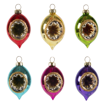 Sass and Belle Set of 6 Vintage Glass Christmas Tree Baubles