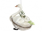 Gisela Graham Glass Swan with Cygnets Hanging Decoration