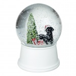 Heaven Sends Black Dog and Tree Christmas Musical Snowglobe