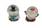 Gisela Graham Set of 2 Snowman And Santa Snowglobes