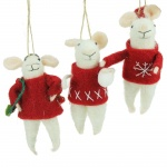 Gisela Graham Set of 3 Wool Mice Christmas Decorations