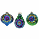 Gisela Graham Set of 3 Shiny Peacock Dimple Glass Baubles