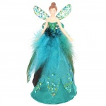 Gisela Graham Teal Glitter Christmas Fairy Tree Topper