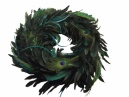 Gisela Graham Peacock Feather Christmas Wreath
