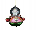 Gisela Graham Glass Santa Spaceship Collectable